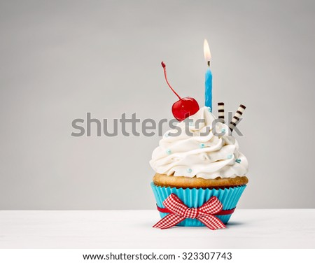 Birthday Cupcake with vanilla buttercream icing, candle and a cherry on top.