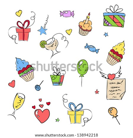 birthday elements hand drawn set. Raster copy of vector illustration