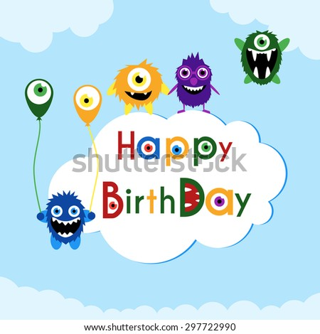 Birthday greeting card with cute monsters on a cloud. - stock photo