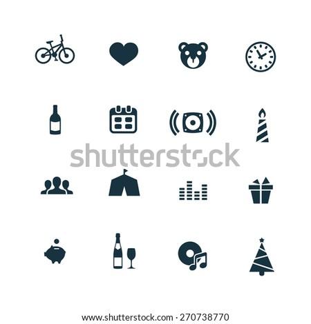 birthday icons set on white background  - stock photo