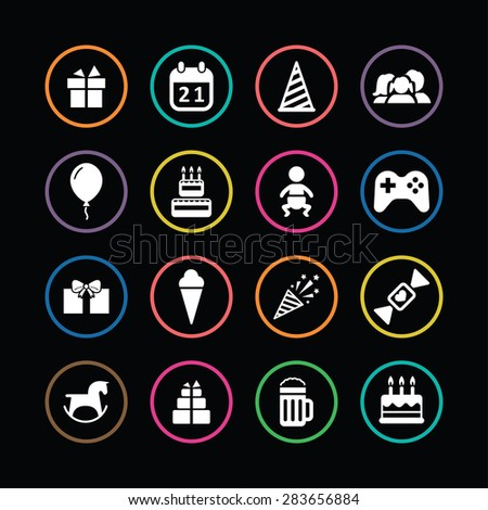 birthday icons universal set for web and mobile - stock photo