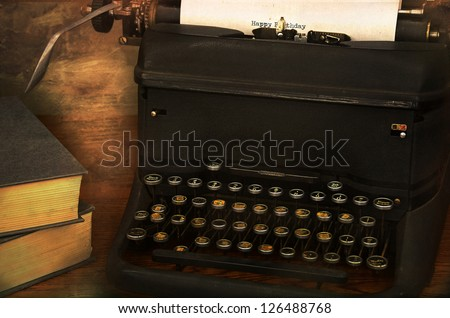 birthday message written on vintage typewriter - stock photo