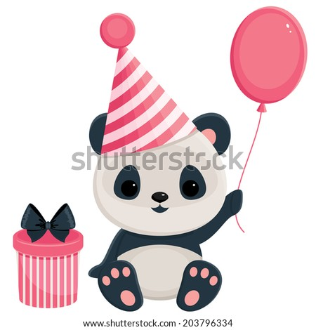Birthday panda with gift box and balloon. Panda in pink - stock photo