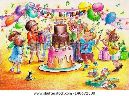 Birthday party-children playing around big birthday cake.Picture created with colored pencils. - stock photo