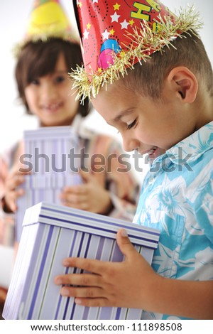 Birthday party for happy children - stock photo
