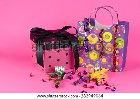 Birthday Party Gift on Pink Background - stock photo