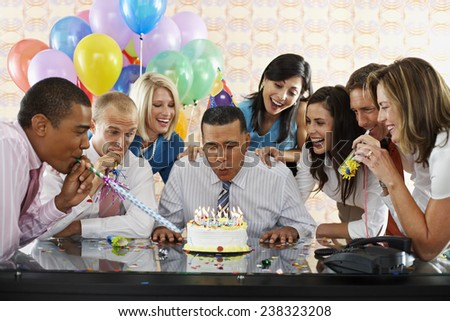 Birthday Party in Office - stock photo