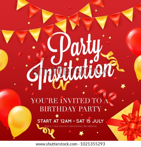 Birthday party invitation card poster template stock illustration birthday party invitation card poster template with ceiling balloon decorations and presents red festive background poster stopboris Images