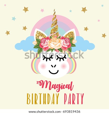 Birthday party invitation unicorn em ilustrao stock 693819436 birthday party invitation with unicorn stopboris Image collections