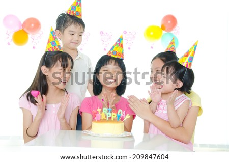birthday party of asian kids - stock photo