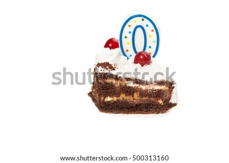 Birthday piece of cake with one candles isolated on white