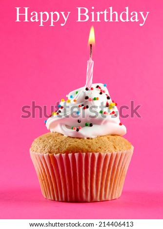 Birthday postcard.Tasty birthday cupcake with candle