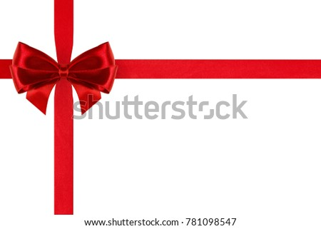 birthday red silk ribbon bow with crosswise ribbons isolated on white background