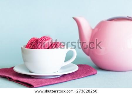 Birthday. Retro Red Teapot on Mint Background - stock photo