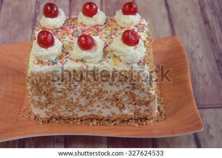 Birthday sprinkle cake with cherry on top