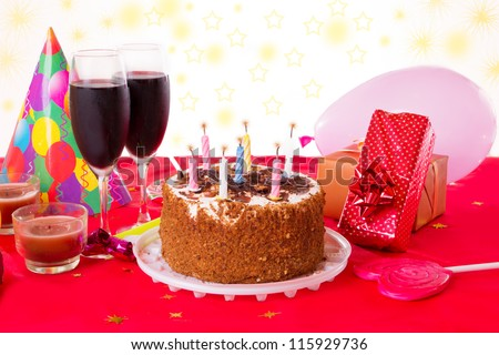 Birthday Cakes Gifts Images ~ Birthday table cake candles wine gifts stock photo royalty free