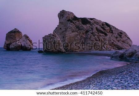 Birthplace of Aphrodite, Petra tou romiou, Cyprus. - stock photo