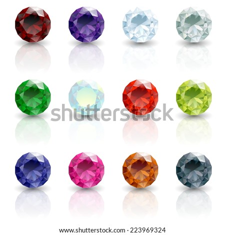 birthstones illustration - stock photo
