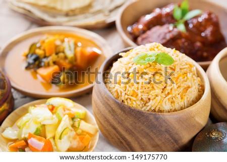 Biryani rice or briyani rice, fresh cooked basmati rice, delicious indian cuisine. - stock photo