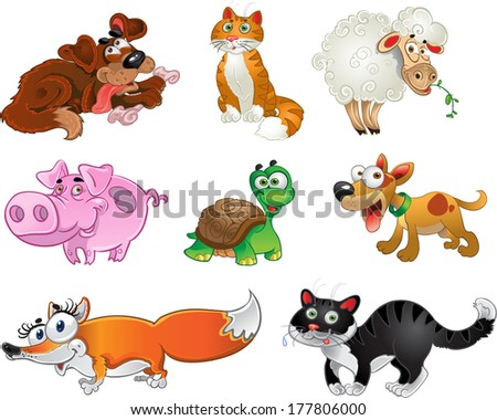 Bis set of funny pig, dogs, cats, sheep, tortoise and fox. Raster version
