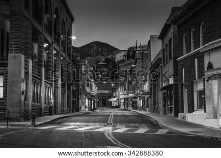 Bisbee, AZ - MAY 24, 2015: Downtown Historic Bisbee, Arizona - formerly a copper mining town - photographed at at night in black and white. - stock photo