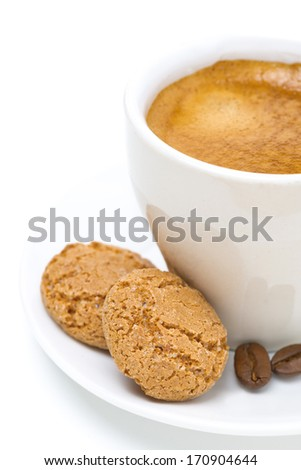 biscotti and cup of espresso, isolated on white - stock photo