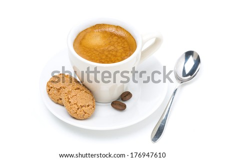 biscotti cookies and cup of espresso, top view, isolated on white - stock photo