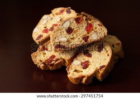 Biscotti with dried cherries and almonds - stock photo