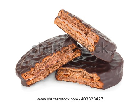 Biscuit in chocolate closeup isolated on white background