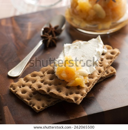 biscuit with cream - stock photo