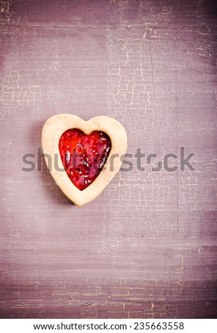 Biscuit with jam, shaped as heart