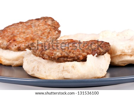 Biscuits and Sausage - stock photo