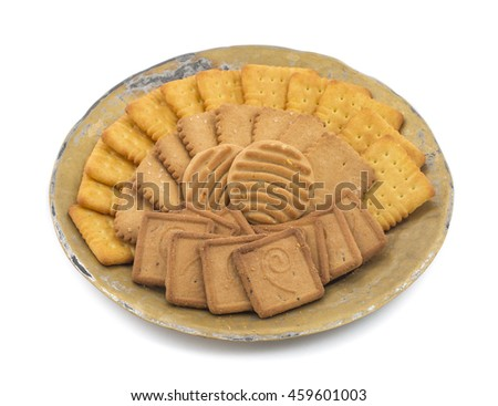 Biscuits in Vintage Plate on White Background