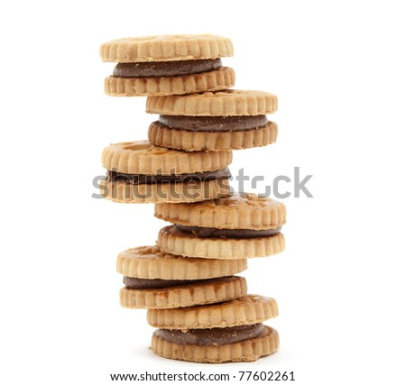 biscuits with chocolate filling on a white background