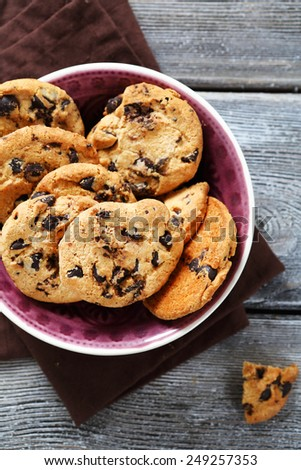 biscuits with dark chocolate chips, food