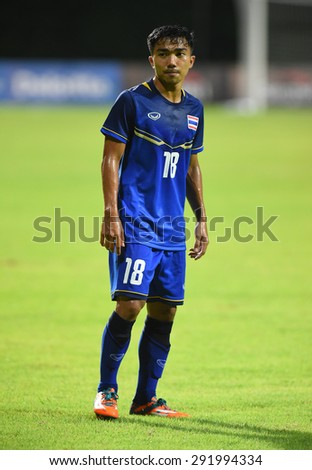 BISHAN,SINGAPORE-JUNE1: Chanathip Songkrasin(18) of Thailand in action during the 28th SEA Games Singapore 2015 match between Thailand and Timor Leste at Bishan Stadium on JUNE1 2015 in,SINGAPORE - stock photo