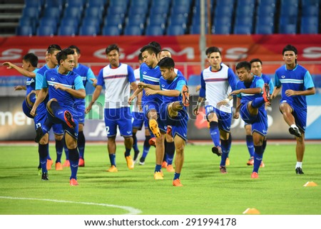 BISHAN,SINGAPORE-JUNE1: Thailand U23 team in action before the 28th SEA Games Singapore 2015 match between Thailand and Timor Leste at Bishan Stadium on JUNE1 2015 in,SINGAPORE - stock photo