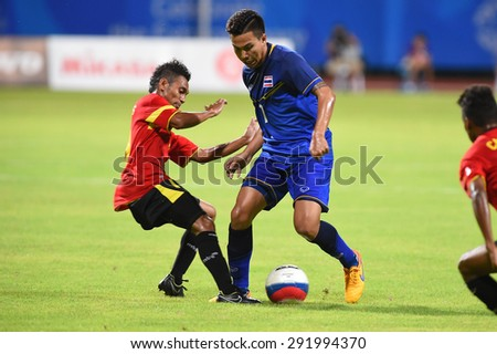 BISHAN,SINGAPORE-JUNE1: Thitiphan Puangjan(7) of Thailand in action during the 28th SEA Games Singapore 2015 match between Thailand and Timor Leste at Bishan Stadium on JUNE1 2015 in,SINGAPORE