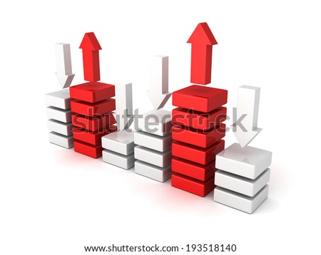 bisiness bar chert diagram with up down arrows. 3d render illustration - stock photo