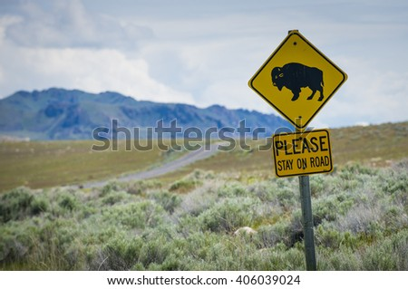 Bison buffalo sign in natural open wild plains setting - stock photo