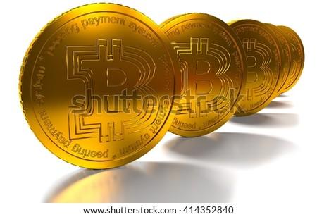 bit coin BTC the new virtual mone, 3d render - stock photo