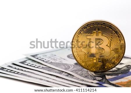 bitcoin and dollars - stock photo