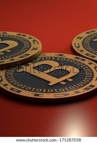 Bitcoin coins - stock photo