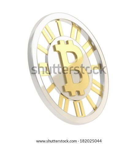 Bitcoin crypto peer-to-peer currency coin isolated over white background - stock photo
