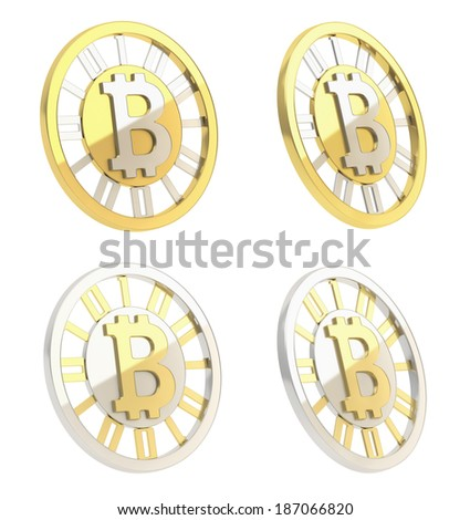 Bitcoin crypto peer-to-peer currency coin isolated over white background, set of four foreshortenings - stock photo
