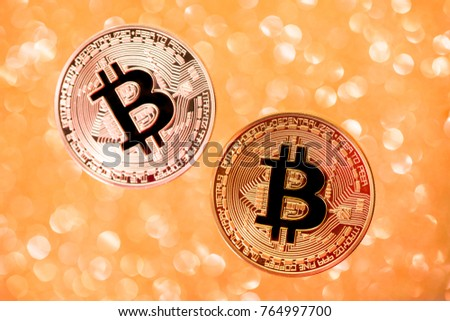 Bitcoin. Cryptocurrency . Gold coin bitcoin on a golden shiny background. virtual money concept