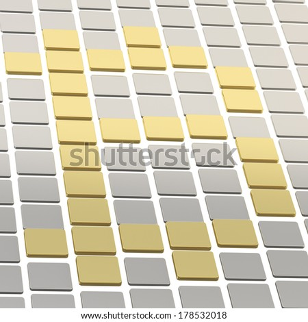 Bitcoin currency sign made of silver and golden square tiles composition - stock photo