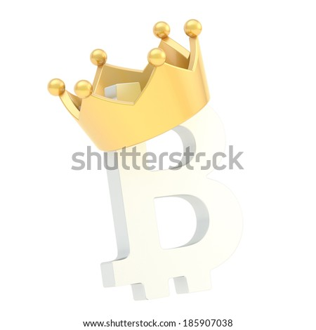Bitcoin currency white sign symbol in a golden crown isolated over white background - stock photo