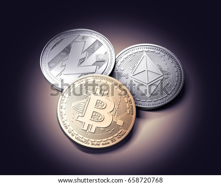 stock photo bitcoin ethereum and litecoin laying together on the ground on gently lit dark background new 658720768
