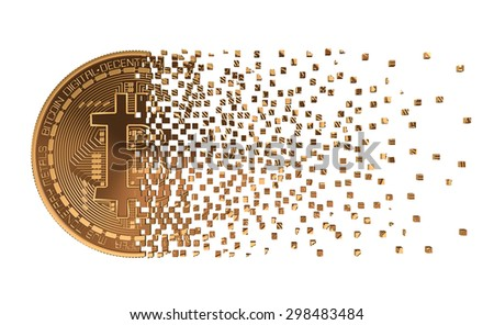 Bitcoin Falling Apart To Pixels. 3D Model. - stock photo